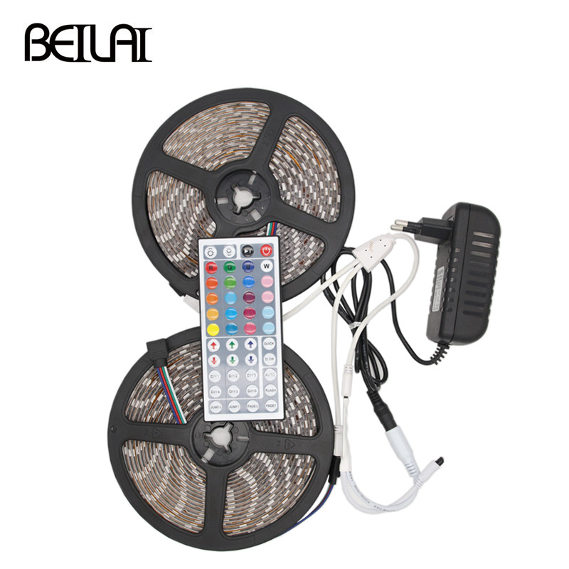 BEILAI 5050 RGB LED Strip Waterproof 5M 10M 30LED/M DC 12V LED Light Strip Flexible Neon Tape With 3A Power And 44Key Remote beilai 5050 rgb led strip waterproof 5m 10m 30led m dc 12v led light strip flexible neon tape with 3a power and 44key remote