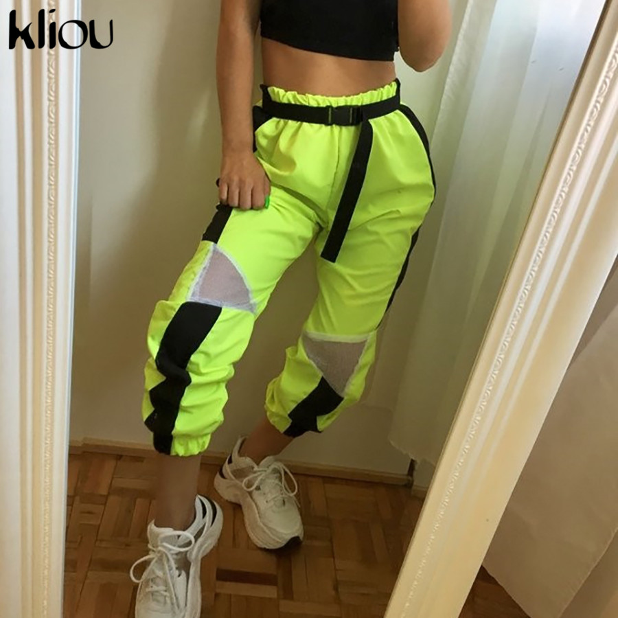 Kliou Women Casual Pants 2019 Summer Fashion Mesh Patchwork Cargo Pants Elastic High Waist Female Fashion Street Trousers