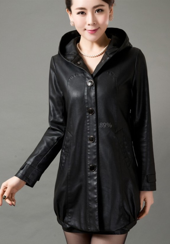 Popular Hooded Leather Jacket Women-Buy Cheap Hooded Leather ...