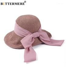 BUTTERMERE Summer Hat Women Straw Crochet Sun Ladies Wide Brim 10cm Pink Bowknot Female Beach Ribbon Folding Caps