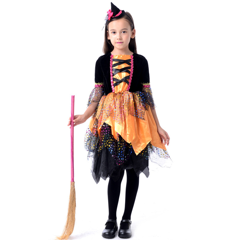 hot sale hallowmas cute children flying witch halloween masquerade costumes for girls performance clothes ws002 - Masquerade Costumes Halloween