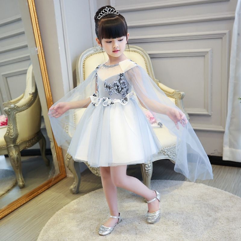 Embroidery Ball Gown Flower Girl Dresses Tutu Princess Dress Beading Tulle Cape Kids Pageant Dress for Birthday Costume Party tulle flower girl dress black baby kids tutu dress princess party ball gown children pageant birthday dresses halloween costume