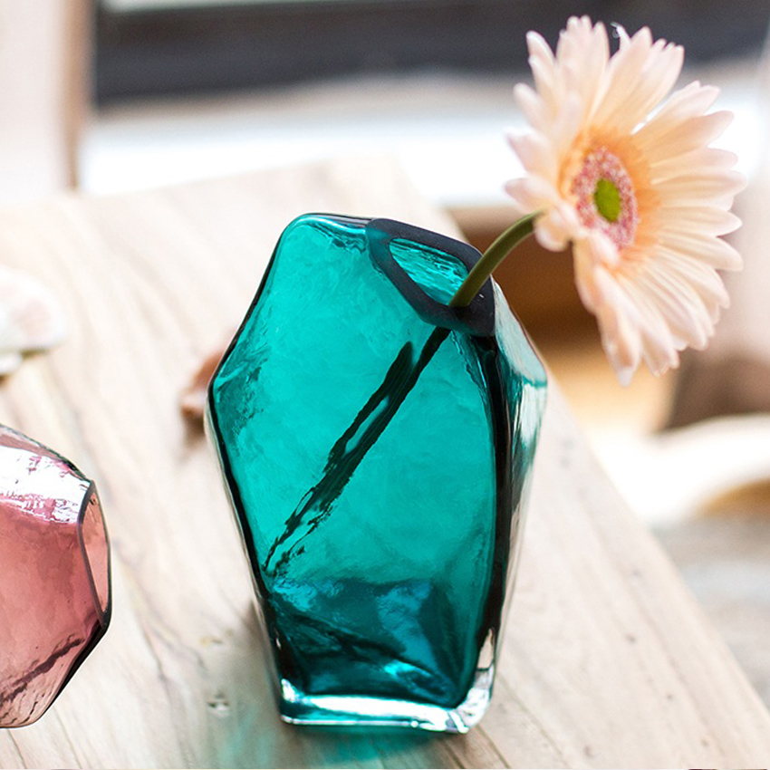 Creative Ice Handcraft Glass Vase Desktop Decorative Bottle For Flower Plant DIY Home Decoration Terrarium Hydroponic Container in Vases from Home Garden