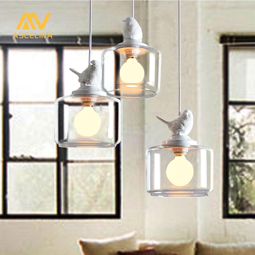 Américain style village creative oiseau pendentif lampe pour café ...