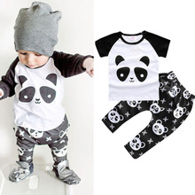 2017 Style Child Boy Garments 2PCS (T-shirt + pants) Panda Leisure Cotton Child Boys Clothes Units