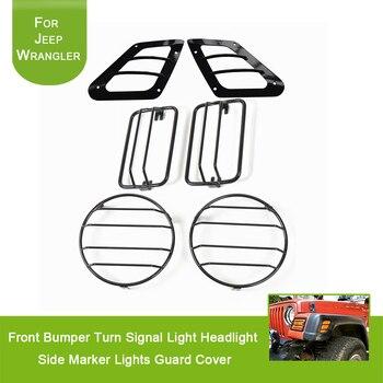 Para 1997-2006 Jeep Wrangler TJ Ilimitado Acessório Preto Amortecedor Dianteiro Lado Marcador Turn Signal Luz Do Farol Luzes de Guarda cobrir