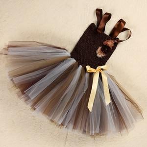 Image 5 - Платье пачка для девочек с коричневыми цветами, детский косплей, костюм с животными и львом, нарядное платье для девочек, детское платье на хэллоуин, день рождения