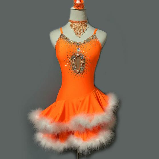 New Style Latin Dance Costume Sexy Senior Stones Feather Latin Dance Dress For Women Latin Dance Competition Dresses S-4XL