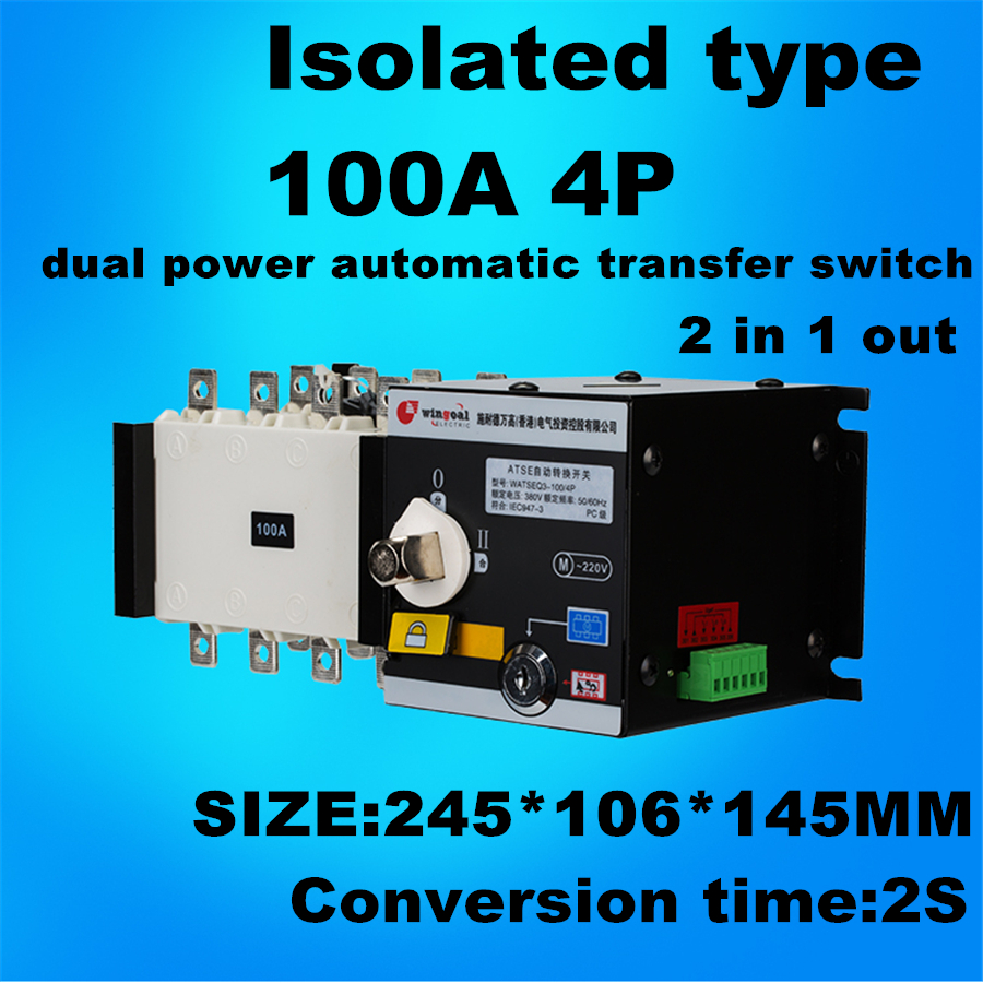 4P 100A 380V Isolation type Dual Power Automatic transfer switch ATS  2 in 1 out girls europe and the united states children s wear red princess long sleeve princess dress child kids clothing red bow lace