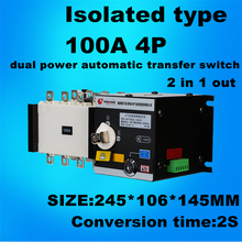 4P 100A 380V Isolation type Dual Power Automatic transfer switch ATS  2 in 1 out