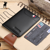 Williampolo100% New Genuine Leather wallet men Small Mini Ultra thin Compact Male purse Cowhide Card Holder Short Design PL296