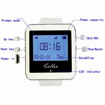 Retekess Restaurant Pager Service System Wireless Waiter Calling Paging System 3 Watch Receiver+15 Call Button Transmitter F3288