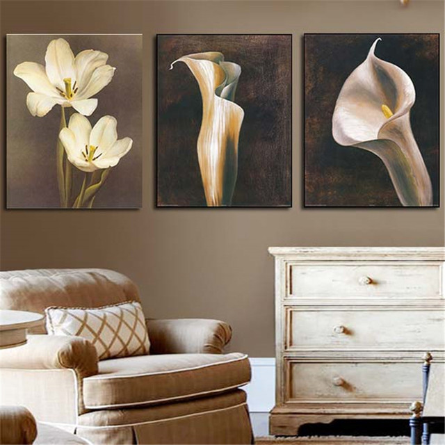 3Pcs Art Picture White Flowers Lily For Home Decoration Wall Paint Oil Painting Print On Canvas For Living Room Without Frame
