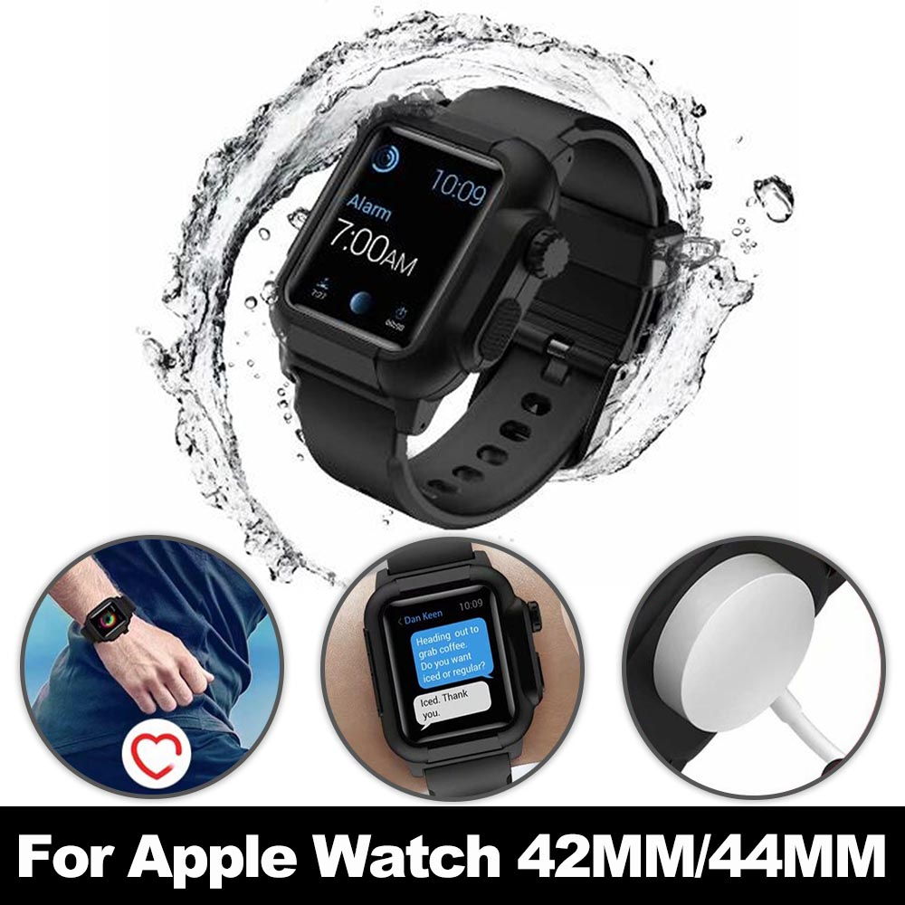 For Apple Watch Series 4 3 2 Case with Silicone Band for