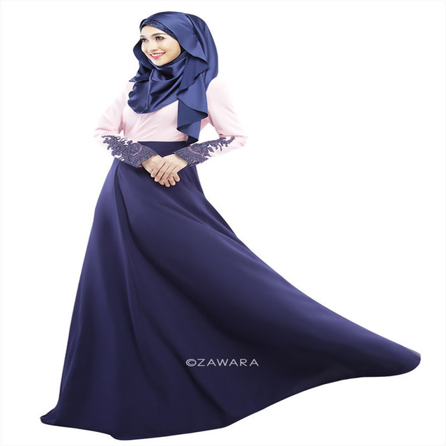 Vintage Kaftan Abaya Jilbab Islamic Muslim Women Long Sleeve Maxi Dress M L