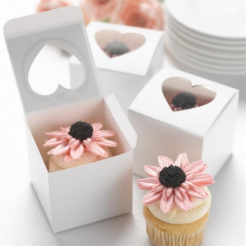 Singling cupcake boxes 6 * 6 * 6cm cajas de pastel de papel blanco y - Para fiestas y celebraciones - foto 1