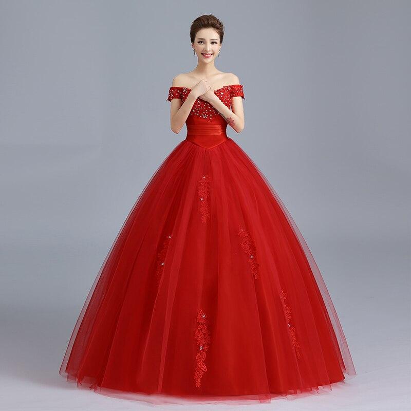 Image 5 - RED Baot Neck Wedding Dress 2019 New Lace Bridal Dresses Korean Style Plus Size Vestido De Novia Vintage Real Photo Custom GZ-in Wedding Dresses from Weddings & Events