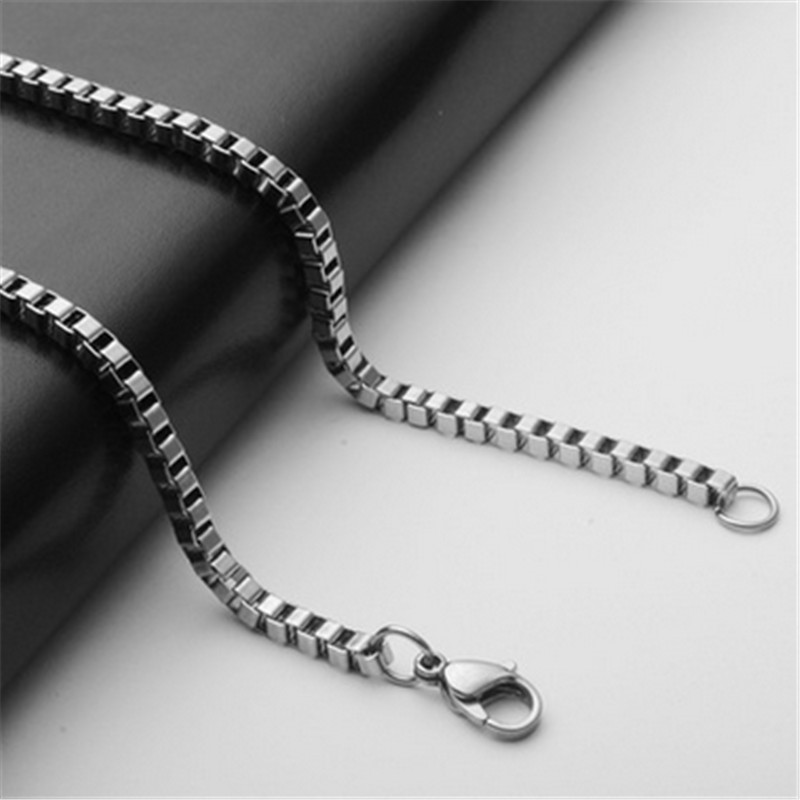 20/24 inch 3mm silver stainless steel chain necklace for pendants women & men box chain for diy jewelry making accessories