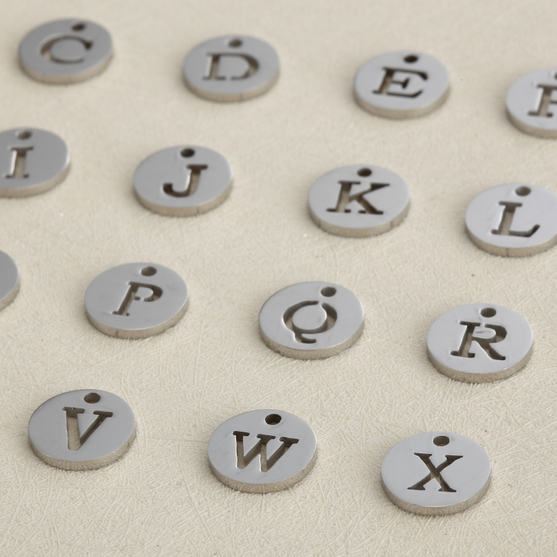 5pcs Stainless Steel Hollow Initial Charms Disc Pendant Alphabet A Z Letter Tag Stamp Round Jewelry In From
