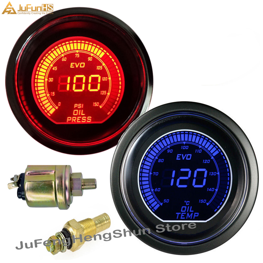 2 Inch 52mm Car Oil Temp Gauge + Oil Pressure Gauges Blue And Red Led Light 12v Car Digital Fuel Temperature Meter With Sensor Clear And Distinctive