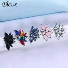 BICUX, новинка, женские модные серьги с кристаллами, стразы, красное/розовое стекло, Черная смола, металлический лист, серьги для девушек, ювелирное изделие