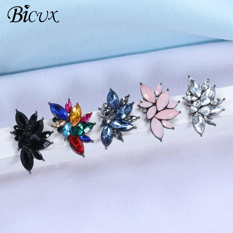 BICUX 2019 New Women's Fashion Crystal Earrings Rhinestone RED / Pink Glass Black Resin Metal Leaf Ear Earrings For Girl Jewelry
