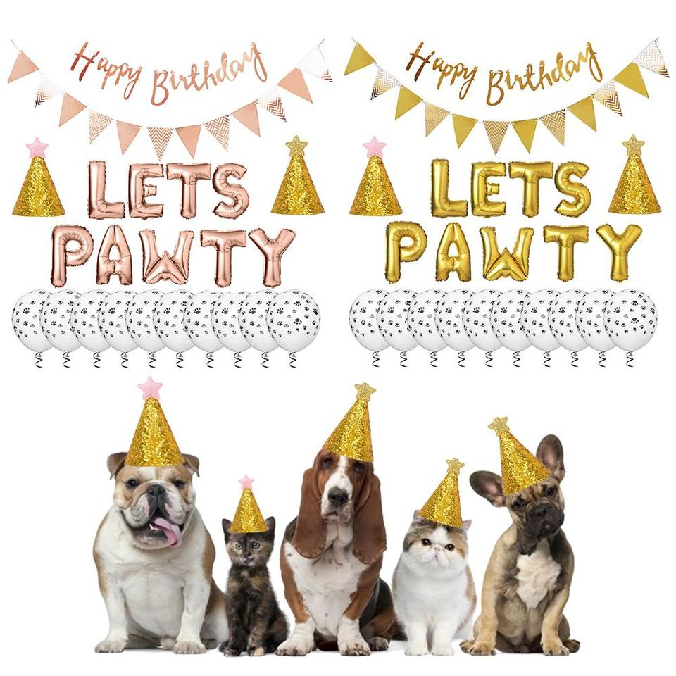Pet Dog Cat Birthday Hat With Foil Balloon Cat Footprints Balloon Happy Birthday Banner Hat Birthday Set Decorations For Party Dog Caps Aliexpress