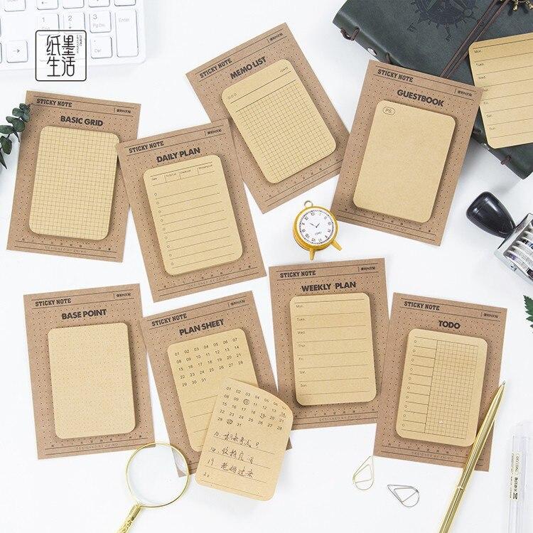 Week Plan List Grid Multi-function Self-Adhesive N Times Memo Pad Sticky Mini Notes Post It Bookmark School Office Supply 5 grid multi function storage box transparent