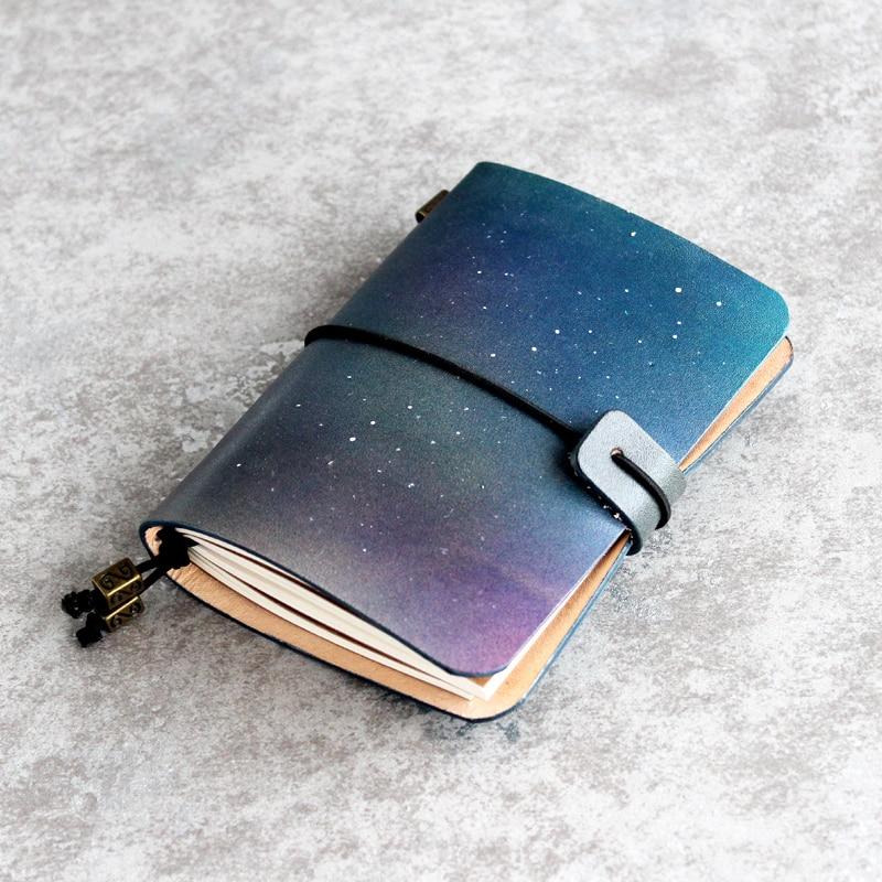 2018 Creative-gift Blue Star Sky Leather Cover Journal Traveler Notebook With Inner Paper Vintage Handmade Cute Travel Note Book blue sky чаша северный олень