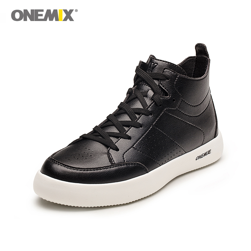 $39.48 Onemix High-Top Sneakers Man Skateboarding Shoes in Classic Black Outdoor Men Running Shoes Breathable Male Walking Shoes