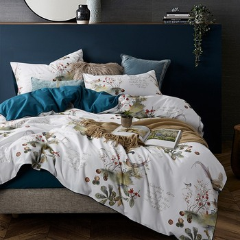 Luxury Egyptian cotton Satin bedding set  white blue floral print queen king size bedclothes home texitle bed pastoral linen
