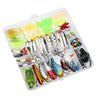 DONQL Fishing Lure Set Mixed Minnow Crankbait Metal Spoon Soft Fishing Baits Kit Hooks With Box Fishing Tackle Accessories