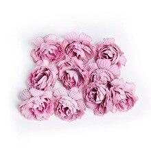 10 шт./лот, искусственный цветок 5 см, Шелковая Роза, украшение для дома, свадьбы, вечеринки, сделай сам, венок, скрапбук, искусственный цветок