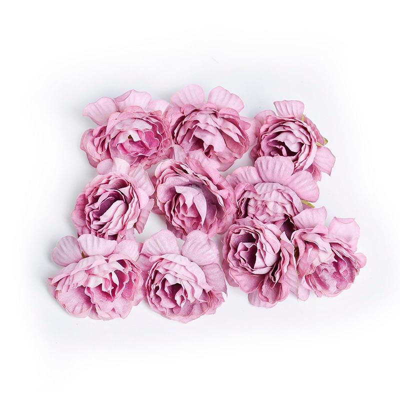 10 шт./лот искусственный цветок 5 см Шелковый цветок розы Глава Свадебная вечеринка украшения дома DIY ВЕНОК Записки Ремесло поддельные цветок