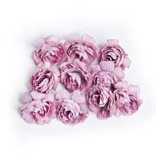 10pcs/lot artificial flower 5cm silk rose head wedding party home decoration DIY wreath scrapbook craft fake