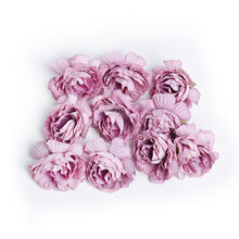 10pcs/lot artificial flower 5cm silk rose flower head wedding party home decoration DIY wreath scrapbook craft fake flower(China)