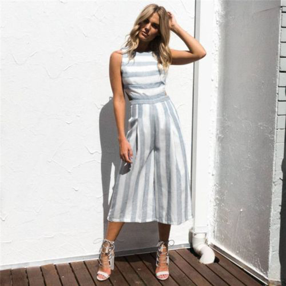 Women Summer Wide Leg Pants Casual Loose High Elastic Waist Jumpsuits Loose Belt Striped Elasticated Trousers Calf-Length Pants