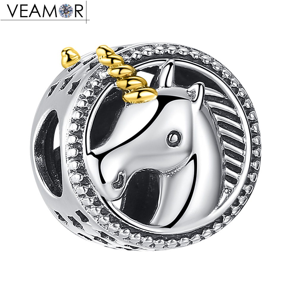VEAMOR Gold Color Unicorn Charms Beads Fit Pandora Bracelets DIY 2018 Summer Animals Charms Original 925 Sterling Silver Jewelry 2018 summer new moments black leather hand chain bracelets fit 925 sterling silver jewelry charms beads diy for women br066