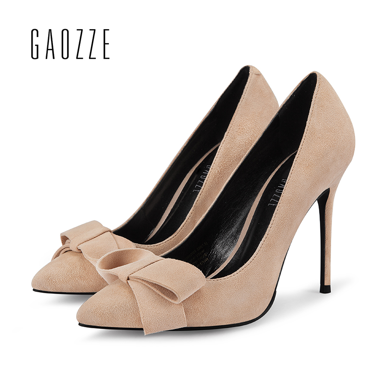 GAOZZE Suede Leather Lovely Bowknot Women'S Pumps Shoes Pointed Toe Thin High Heel 10cm Nude Color Zapatos De Mujer 2018 Spring