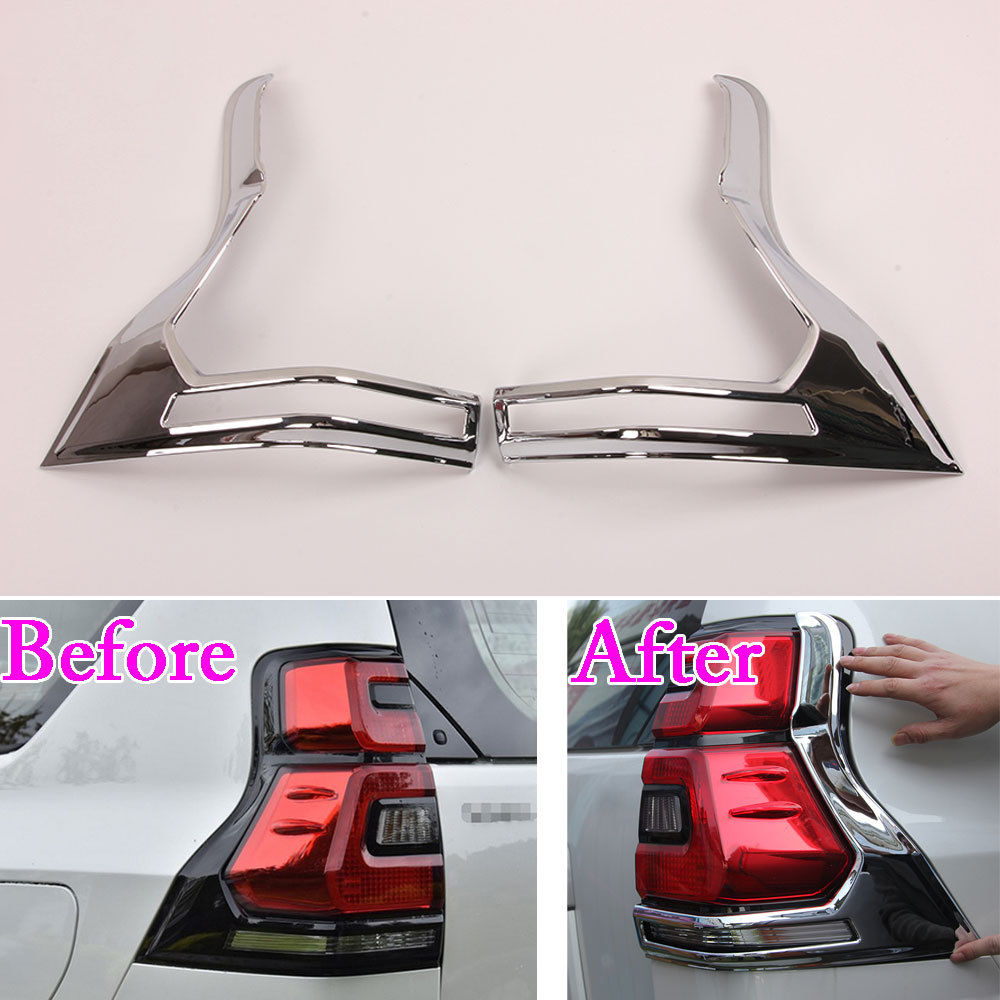 2pcs/set Car Chrome ABS Rear Tail Fog Light Cover Trim Frame Decal Fit For Toyota Land Cruiser Prado 2018 Car Styling Accessory