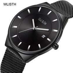 Modny top Luxury Brand Watch mężczyźni siatka ze stali nierdzewnej Band Quartz Sport Watch data ultra-cienki męski zegarek męski zegar