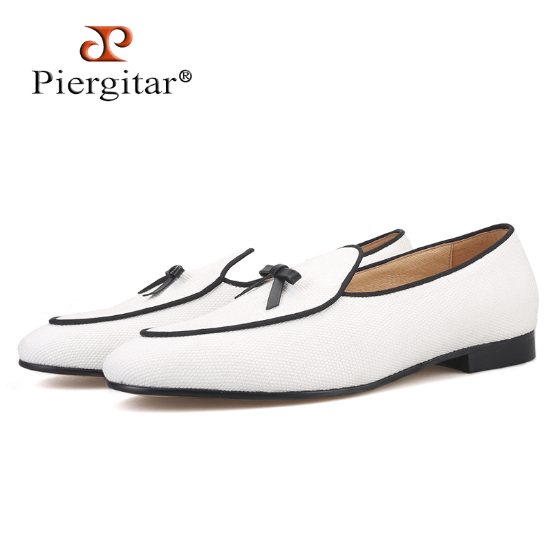 Piergitar brand 2019 Handmade white colors cotton canvas men loafers Fashion party and wedding men leather