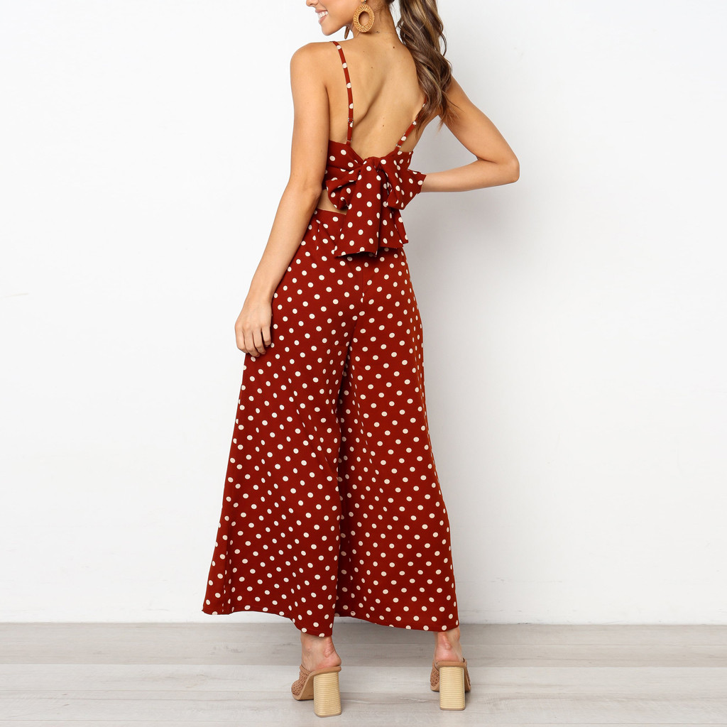 Duiyt Jumpsuits for Womens Casual Fashion Style Polka Dot Holiday Wide Leg Pants Long Jumpsuit Sleeveless Backless Strappy Playsuit 25 Black S China
