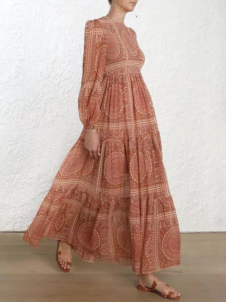 2019 femmes élégant Vintage imprimé longue robe Boho o-cou vacances robe d'été à manches longues cheville-longueur robe de plage