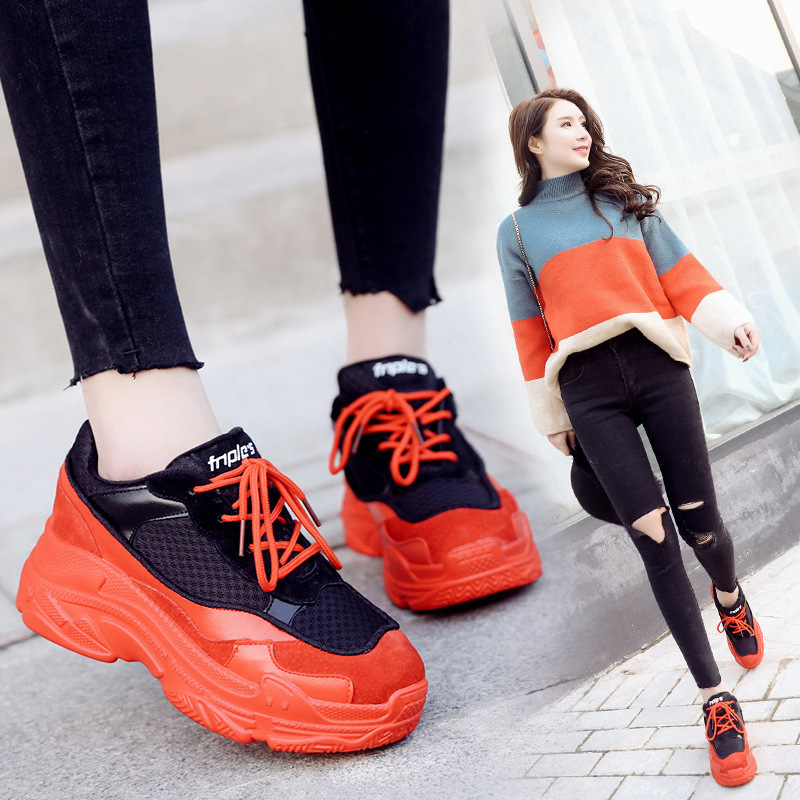 Sneakers Woman 2018 Spring And Autumn Season New Pattern Korean Plate Thick Bottom Chalaza Casual Old Womens Shoes