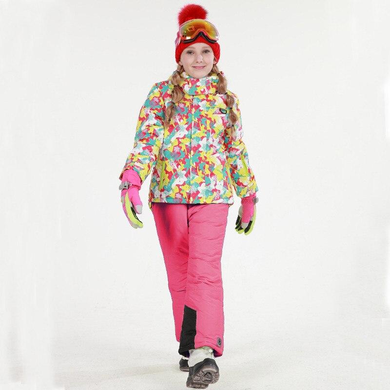2017 New Children's Snow Ski Suits Baby Girls pank Outdoor Wear Hooded Jackets+Bandage Pants Kids Winter Warm Sport Coat Sets marsnow waterproof children s boys girls snow ski suits set outdoor wear hooded jackets pants kids winter warm sport coat sets