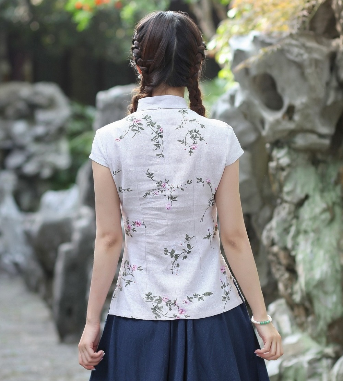 7de683f5da5 Shanghai Story Qipao Shirt Chinese Tops Cheongsam Top Traditional Chinese  Linen Top Linen Blouse Top 7 style optional-in Blouses   Shirts from Women s  ...