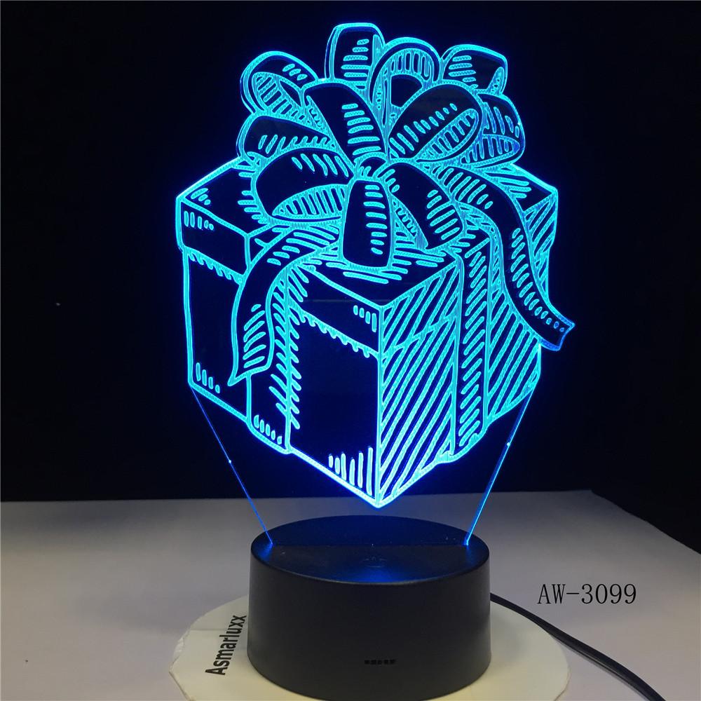 Gift Box LED Night Lamp Holiday 3D Illusion Touch Sensor Hoom Decoration Child Kids Baby Nightlight Gift Box Desk Lamp GX-3099
