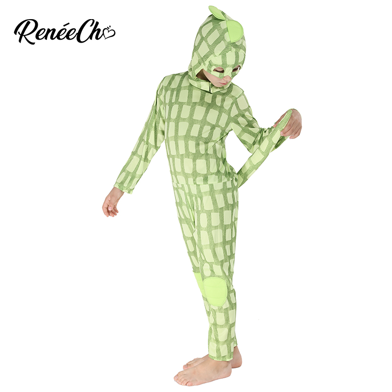 Halloween Costume For Kids Child Chameleon Costume Boys Lizard Costume Animal Cosplay Jumpsuit And Hood 2 Pieces Full Set