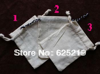 120g/m2 tela de algodón (50 unids/lote) 8*10 cm/3*4 pulgadas orgánico natural bolsa de algodón con cordón promocional